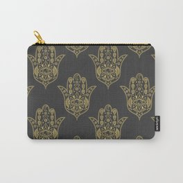 Gold Hamsa Hand Pattern Carry-All Pouch