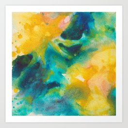 Summer Evening Abstract Watercolor Painting Art Print