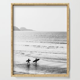 Surfers, Black and White, Beach Photography Serving Tray