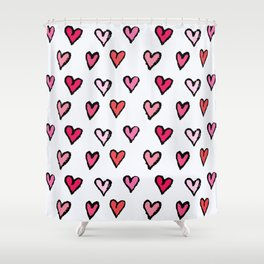 Cute Girly Pink Hand Drawn Hearts on White Pattern Shower Curtain