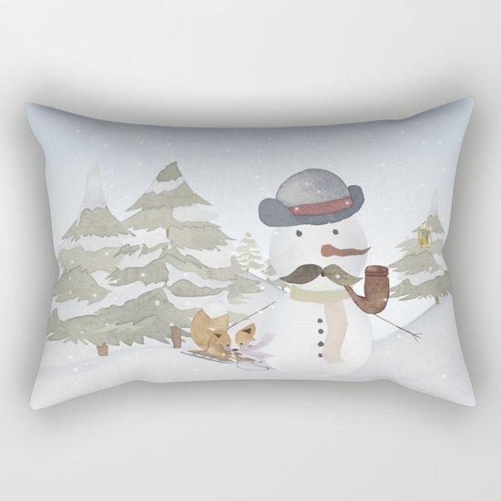 Winter Wonderland- Funny Snowman and friends - Watercolor illustration III Rectangular Pillow