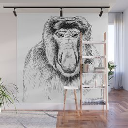 Proboscis Monkey Drawing Wall Mural