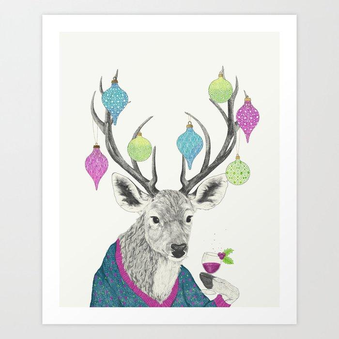 Mr. Deer gets festive  Art Print