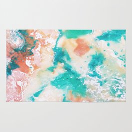 Sea Foam and Pink Abstract Rug
