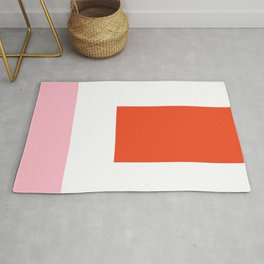 Regressing Colour Block - Minimalist Geometric Pattern in Red, White, and Pink Rug