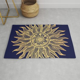 Sun Mandala Gold and Navy Blue Rug