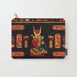 Hathor Egyptian Ornament Gold and Red glass Carry-All Pouch
