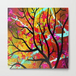 Autumn Leaves - Red Metal Print