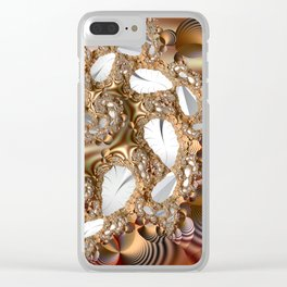 Silver leaves on golden glow -- A fractal landscape Clear iPhone Case