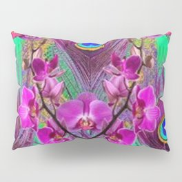 Blue Green Peacock Feathers Fuchsia Orchid Patterns Art Pillow Sham