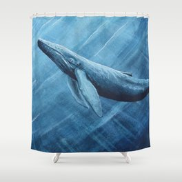 Watercolor Whale Shower Curtain