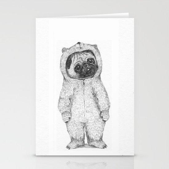 Winter pug Stationery Cards