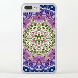 Colourful Dragonfly Mandala Clear iPhone Case