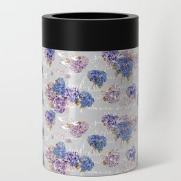 Hydrangeas and French Script with birds on gray background Can Cooler