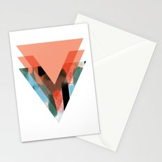 Three Triangles Geometric in Coral Stationery Cards
