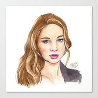 law Canvas Prints featuring J-Law by Kaitlin Polak
