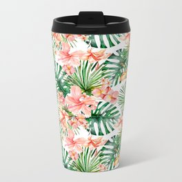 Tropical Jungle Hibiscus Flowers - Floral Metal Travel Mug