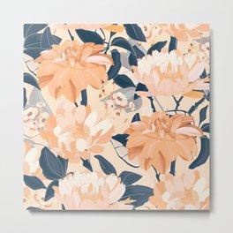 Floral Prints, Navy and Peach, Vintage, Flower Garden Metal Print