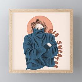 Big Sweater Illustration  Framed Mini Art Print