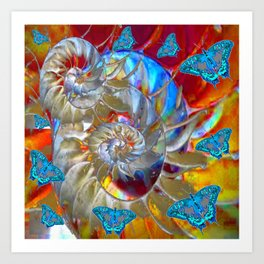 SURREAL MODERN ART BLUE BUTTERFLIES ABSTRACT Art Print