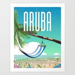 Aruba Hammock beach travel poster Art Print