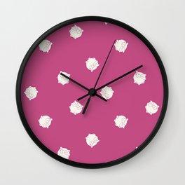 Round Bunny Pattern White Pink Wall Clock
