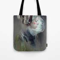 collage Tote Bags featuring Self portrait by Feline Zegers