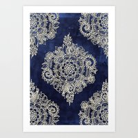 silver Art Prints featuring Cream Floral Moroccan Pattern on Deep Indigo Ink by micklyn