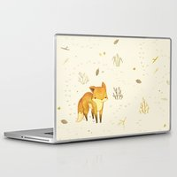 hug Laptop & iPad Skins featuring Lonely Winter Fox by Teagan White