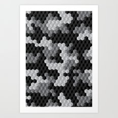 CUBOUFLAGE BLACK & WHITE Art Print
