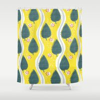 ski Shower Curtains featuring ski between the trees by ottomanbrim
