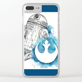 R2 Droid -blue Clear iPhone Case