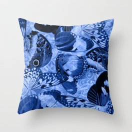Blue Exotic Butterfly Wings and Scroll Collage Throw Pillow