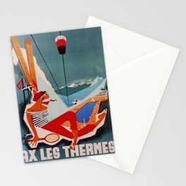 retro Ax Les Thermes old psoter Stationery Cards