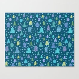 Winter Holidays Christmas Tree Green Forest Pattern Canvas Print