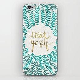 Treat Yo Self – Gold & Turquoise iPhone Skin