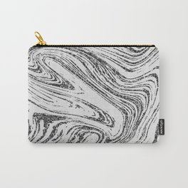 Modern abstract black and white glitter marble Carry-All Pouch