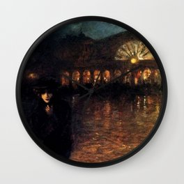 Classical Masterpiece A Woman On A Paris Street At Evening by Lionello Balestrieri Wall Clock