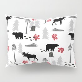 Camping woodland forest nature moose bear pattern nursery gifts Pillow Sham