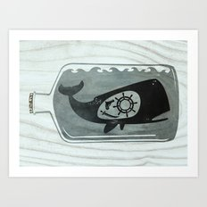 Whale in a Bottle | Ship's Wheel Art Print