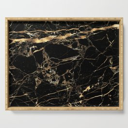 Marble, Black + Gold Veins Serving Tray