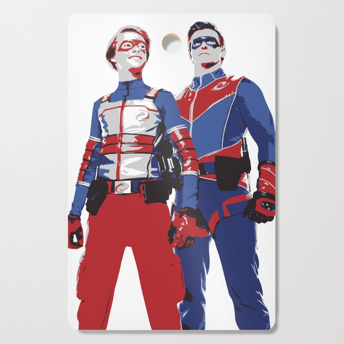Captain Man And Kid Danger Lineart Silhouette Heroic Cutting Board