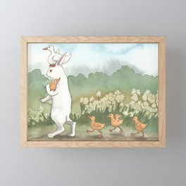 Helping with the Ducklings Framed Mini Art Print