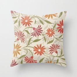 Stylized Flower Pattern 3 Throw Pillow
