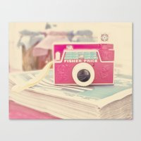 vintage camera Canvas Prints featuring Camera by Angie Ravelo Art & Photography
