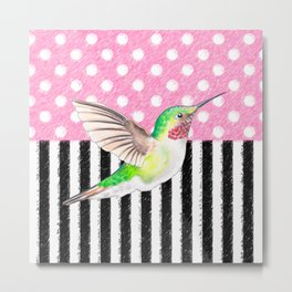 Hummingbird Polka Dot Pink Metal Print