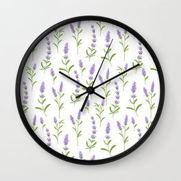 Modern hand painted lilac watercolor lavender floral pattern Wall Clock