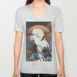 Golden Tropical Garden Unisex V-Neck