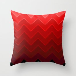 Gradient Red Zig-Zags Throw Pillow