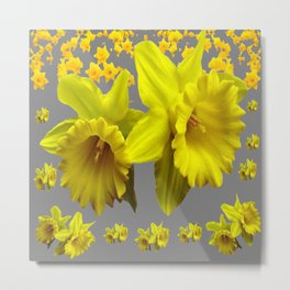 YELLOW DAFFODILS CHARCOAL GREY FLORAL Metal Print
